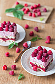Raspberry no bake cream cake