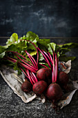 Still life of a bunch of beetroot
