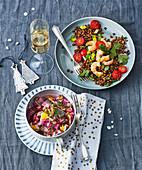 Heringssalat und Linsen-Garnelen-Salat zu Weihnachten