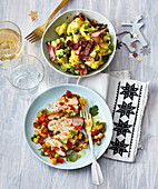 Christmas potato salad and chicken breast with mango salsa