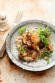 Buckwheat risotto with mushrooms and goat's cheese