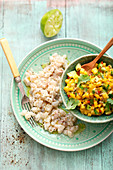 Ceviche with mango and avocado salsa