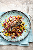 Roast mackerel with avocado and corn
