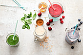Four colourful smoothies
