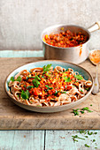 Tagliatelle with tomatoes and lentil sauce