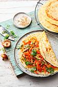Vegetarian pancake wraps with Asian wok vegetables