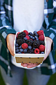 A person holding a cardboard punnet of fresh berries