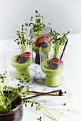 Avocado and apple drink with beetroot and cress