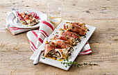 Turkey roulade with radicchio and bacon