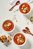 Gazpacho with croutons and shoots (seen from above)