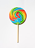 A colourful lolly on a white surface