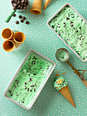 Homemade mint ice cream in metal containers and in cones