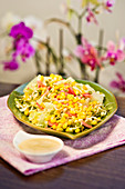 Iceberg lettuce salad with sweetcorn and flaxseed dressing