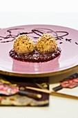 Tofu dumplings on lingon berry sauce