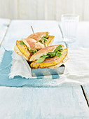 Frittata sandwich with mortadella