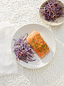 Marinated salmon steak with fleur de sel and purple chips