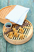 Bavaria meets China – mushroom dim sum with soy sauce