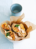 Piadina wraps with chicken, buffalo mozzarella, chard and olives