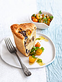 Spicy yeast dough cake with aubergines and smoked mozzarella