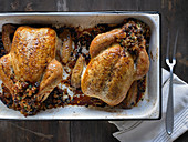 Georgian Stuffed Chicken with Stuffing that is Rice Cooked with Onions, Garlic and Dried Sour Cherries
