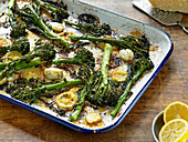 Roasted Broccolini and Lemon with Crispy Parmesan Cheese