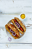 Delicious homemade hot-dogs with onion, spices and mustard