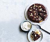 Chocolate sour cherry and ricotta crumble cake