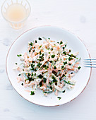 Carrot salad with cucumber and walnut cream cheese