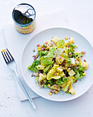 Cos lettuce with pineapple, sweetcorn and diced ham