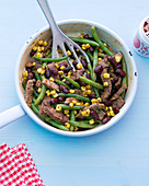 Tex Mex beef with green beans, kidney beans and sweetcorn