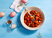 Lamb goulash with peppers for Easter