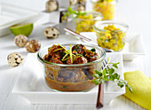 Lamb curry with mango pickles for an Easter brunch with quail's eggs