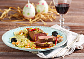 Marinated saddle of lamb with fennel and olives for Easter