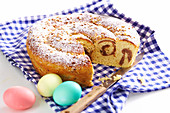 Bavarian Easter bread filled with hazelnuts, raisins, sugar and rum