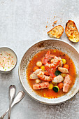 Bavarian bouillabaisse with shrimps, zander and char