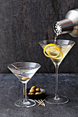 Two Martinis, one stirred, one shaken