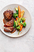 Italian style beef fillets with steamed vegetables