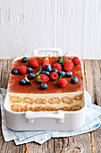 Bavarian wheat beer tiramisu with fresh berries