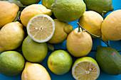 Lemons on a blue surface