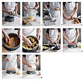 Einen Apfel-Croissant-Auflauf mit Brombeeren und Mandeln zubereiten