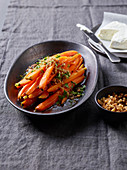 Carrots in a liquorice sauce with crispy breadcrumbs