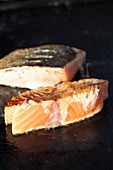 Grilled salmon steaks (close-up)