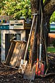 Gartengeräte an Baumstamm gelehnt und Holzkisten