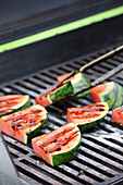 Watermelon slices on a grill