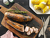 Mustard-Glazed Pork Tenderloin with Corn