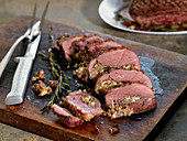 Seared Duck Breasts Stuffed with Garlic, Rosemary, Fennel and Parmesan Cheese