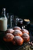 Delicious brioche with icing sugar