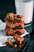 Chocolate brownie with a glass of milk