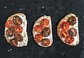 Ricotta and cherry-tomato sandwiches with fresh thyme