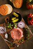 Raw ingredients for a gourmet burger